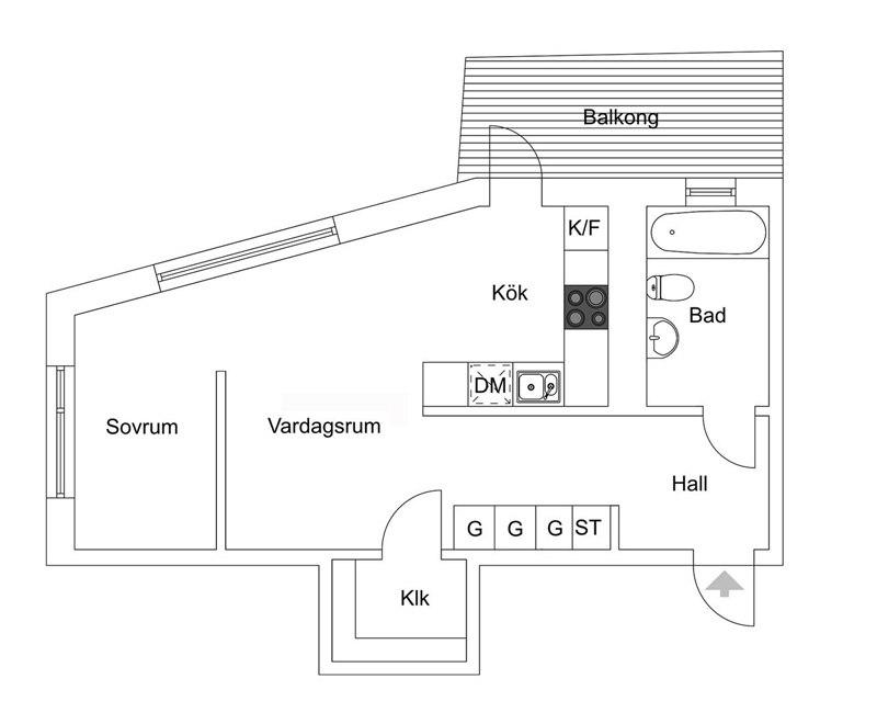 Квартира 44 м с зонированием перегородкой с круглым проемом.