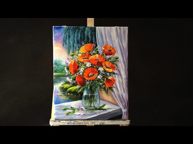 Bouquet Of Poppies In Glass Vase On Windowsill Acrylic Painting