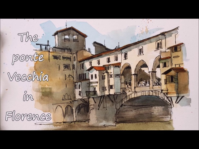 Time lapse Line and Wash of the Ponte Vecchio (Bridge) Italy, Peter Sheeler