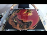 Fluid Acrylic Pouring Painting Red &amp Black &amp Gold