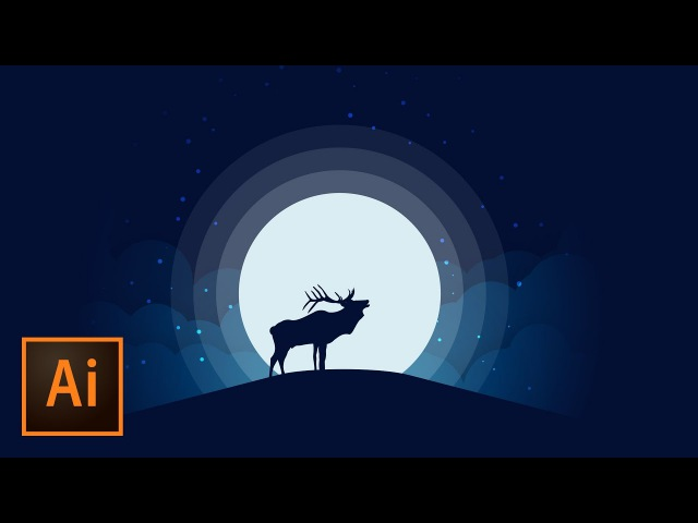 Animal Silhouette Moonlight Vector Illustration Illustrator Tutorial