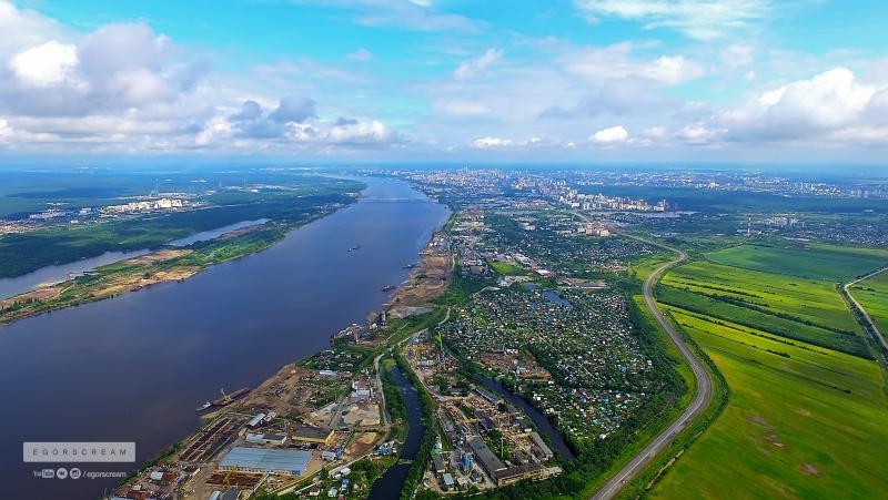 Пермь с высоты 500м перелет через Каму в районе Красавинского моста