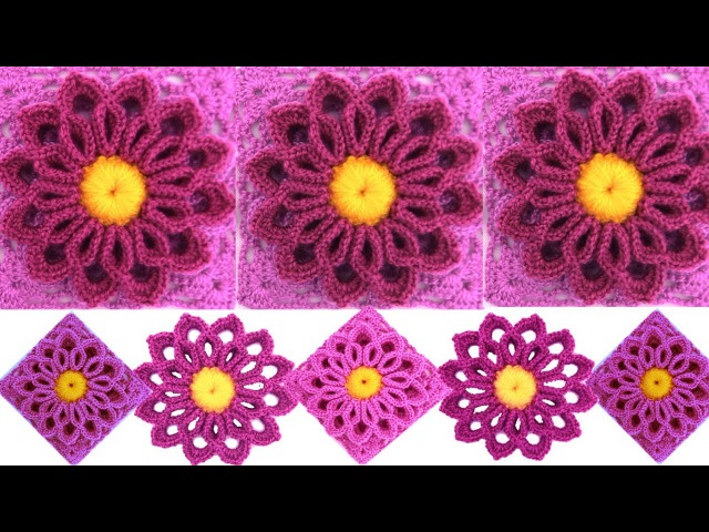 Teje flor Lila tejida con gancho Crochet fácil tutorial
