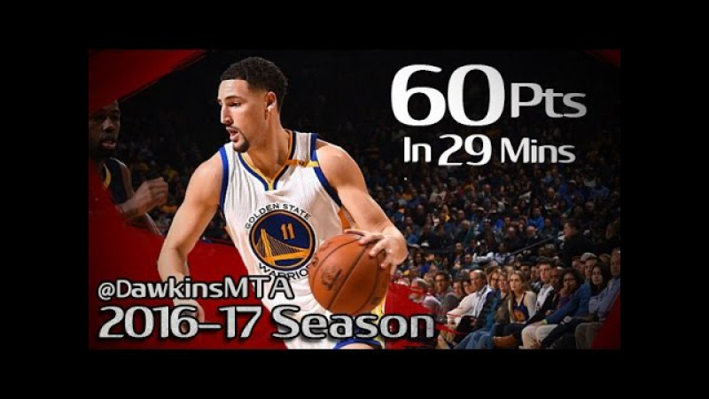 Klay Thompson UNREAL 60 Pts in 29 Mins 2016.12.05 vs Pacers - 8 Threes, 21-33 FGM!