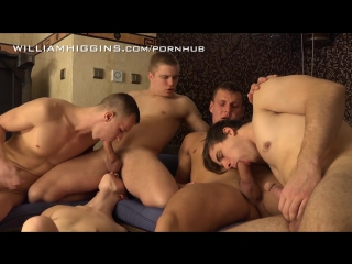 Twink, hunk and dude jerk off and swallow in hard gang poke in the shower