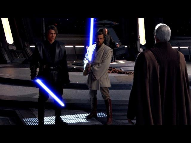 Оби-Ван Кеноби и Энакин Скайуокер против Графа Дуку. Звёздные войны: Эпизод 3.