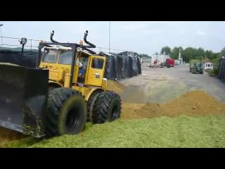 Tractor Kirovets K700A compacts the silage / Traktor Kirovets K700A komprimiert die Silage