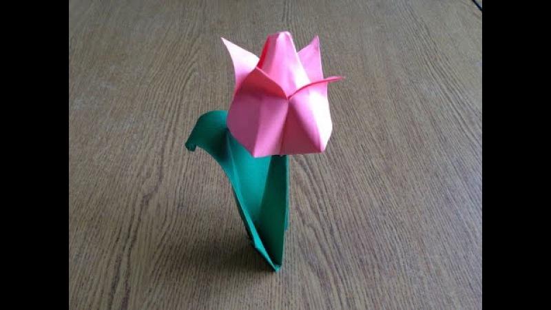 Как сделать тюльпан из бумаги своими руками, оригами.