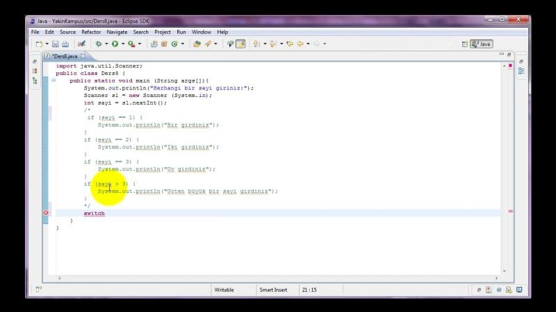 Yakın Kampüs - Java ile Programlamaya Giriş - Ders 8- Switch Komutu