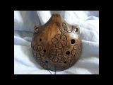 Handbuild clay Flower 7-hole ocarina, double milk firing, unique kolovrat totem musical instrument