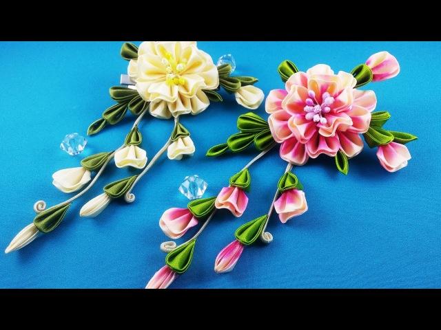 Ribbon flower.DIY Flor de las cintas.CM Цветок из лент.МК