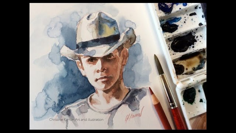 Watercolor sketch Boy Hat painting pencil drawing by Ch.Karron