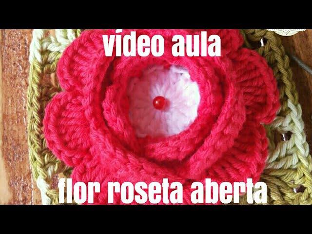 Flor Roseta aberta por .crochê da NANDA
