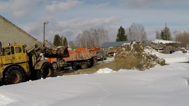 Кировец К 700 701 погрузка снега
