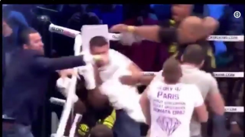 Fans attack kickboxer Murthel Groenhart in the ring after controversial knockout