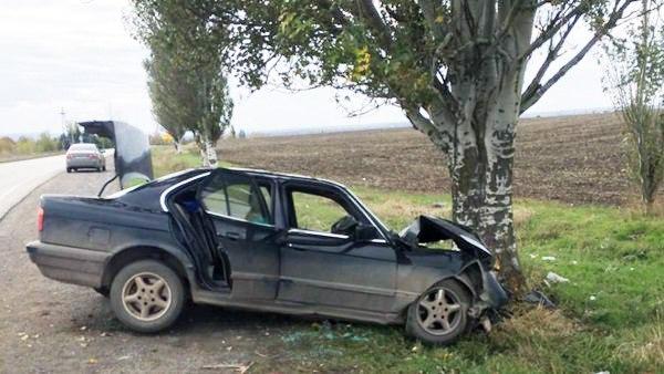Недалеко от Таганрога BMW врезался в дерево, двое пострадавших