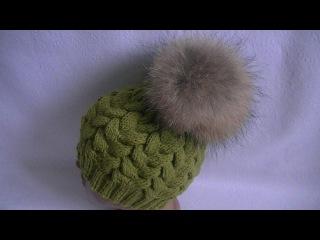 Вязание шапки  узором Коса с 15 петель.Knitting caps pattern Spit with 15 loops