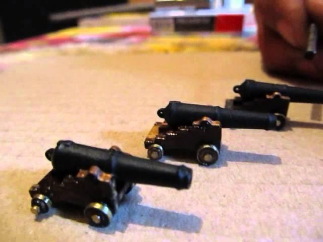 сборка модели парусника12 апостолов пушки имитация оковки колес