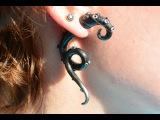 Сережки-щупальца из полимерной глины. Для начинающих  Polymer clay earrings tutorial. Fake gauges