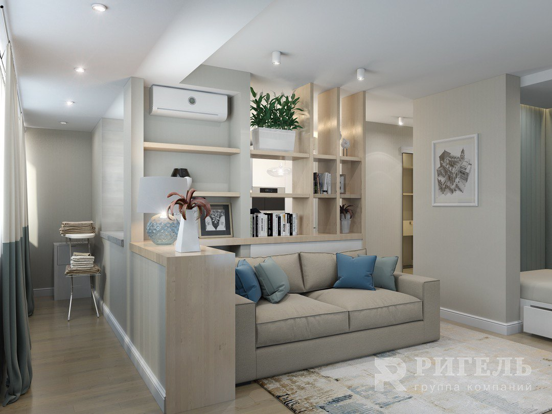 Проект квартиры 36 м с присоединенной лоджией.