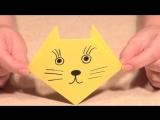 Простые поделки оригами для детей. Простой себе такой Оригами Кот