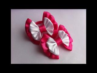 Украшение на резинку Канзаши / Розово-белые бантики