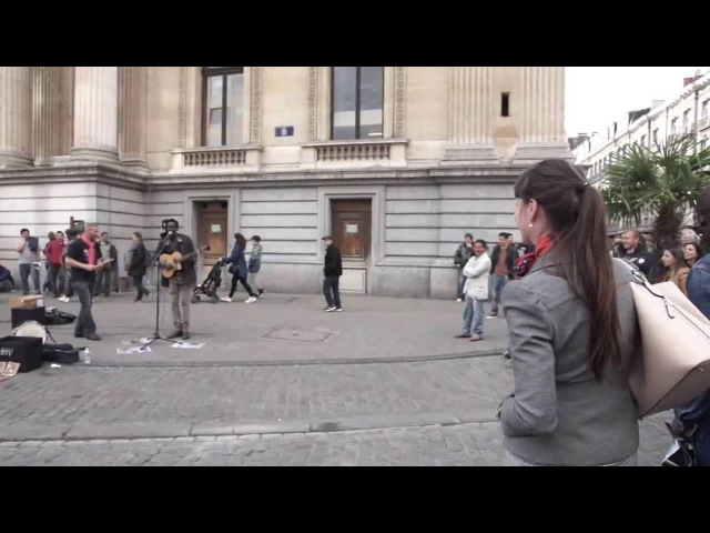 A random lady with good voice Join the Reggae busker singing three little birds - reggae music