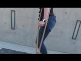 One-legged amputee lady crutching 01