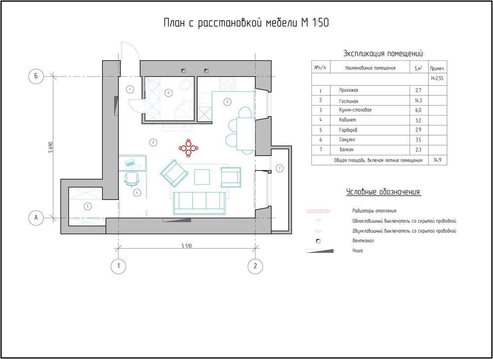 Проект лофта из городской квартиры 32,6 м.