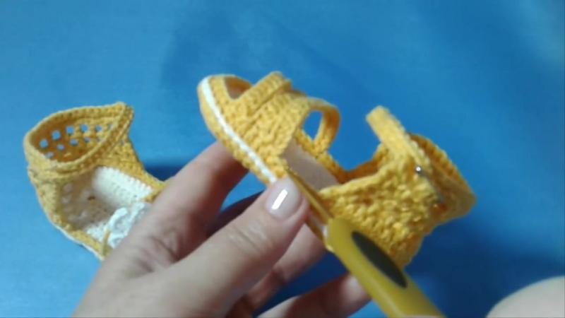пинетки-сандалики (вязание крючком)_booties sandals knitting by crochet