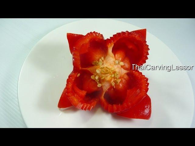 Bell Pepper Flower Carving Design 1 Lesson 13 for Beginners แกะสลักดอกไม้จาก พริกหวาน แบบ 36