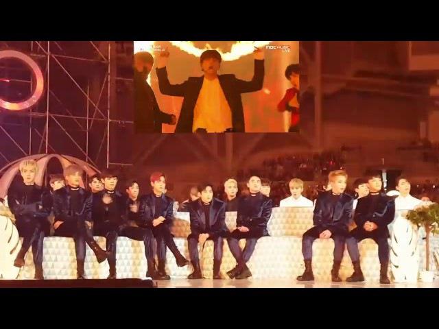 161119 EXO(엑소) reaction to BTS(방탄소년단) - Blood Sweat Tears FIRE @MMA