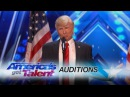 The Singing Trump: Presidential Impersonator Channels Bruno Mars - America's Got Talent 2017