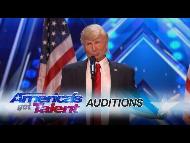 The Singing Trump Presidential Impersonator Channels Bruno Mars - Americas Got Talent 2017