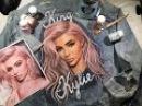 Portrait of Kylie Jenner on a denim jacket n.2