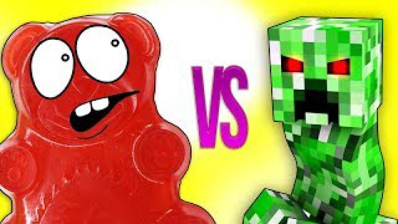 МАЙНКРАФТ VS ЖЕЛЕЙНЫЙ МЕДВЕДЬ ВАЛЕРА | СУПЕР РЭП БИТВА | Minecraft Creeper VS Gummy Bear Познава ...