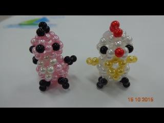 handmade - kết hạt cườm - chú gà