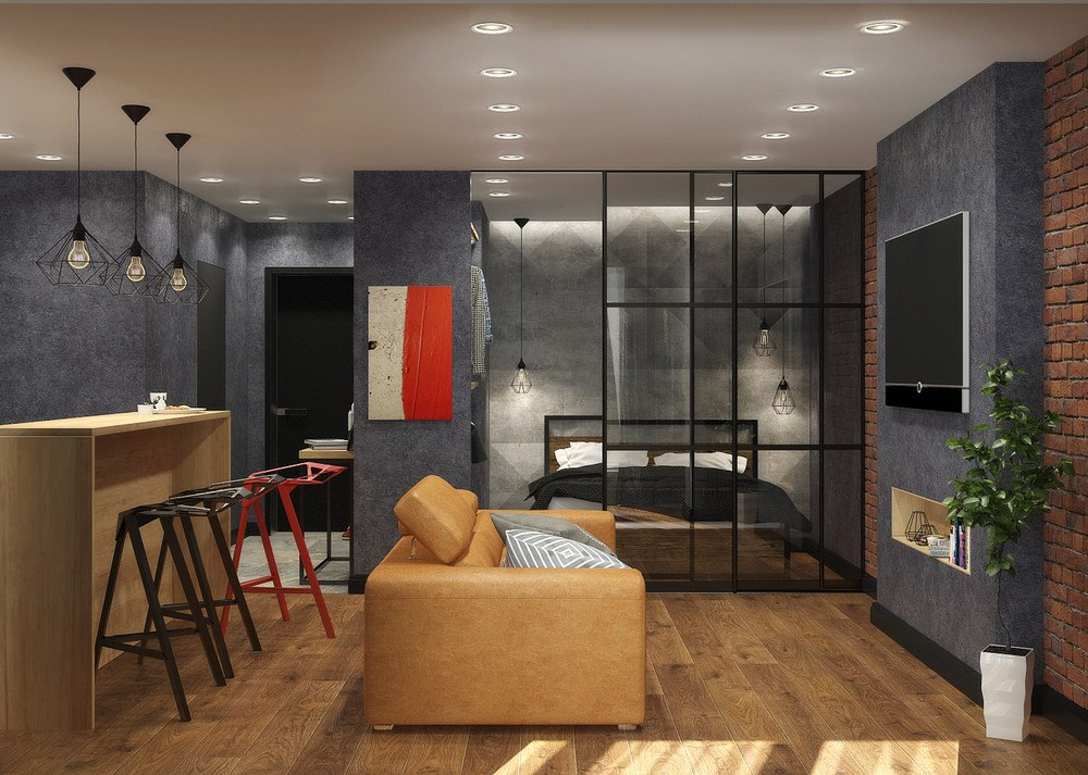 Проект студии из однокомнатной квартиры 35 м (с присоединенной лоджией стало 43 м).