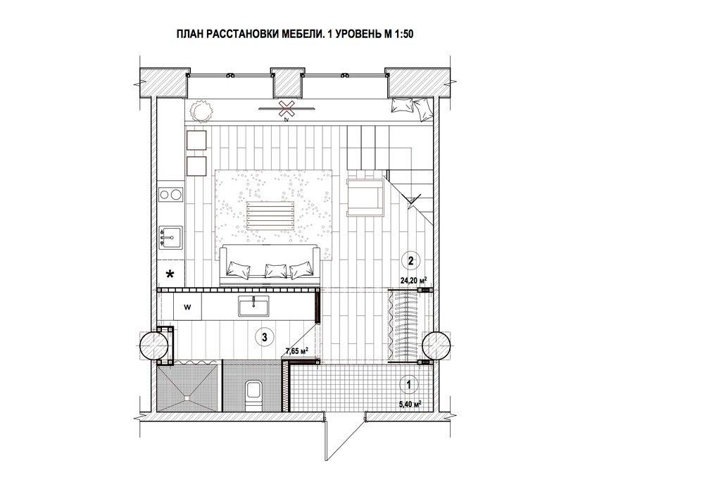 Концепт лофта 37 м в здании бывшей фабрики.