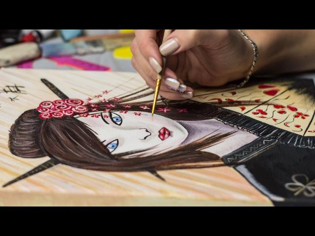 Geisha Kunoichi - a dangerous beauty! - Acrylic painting / Homemade Illustration