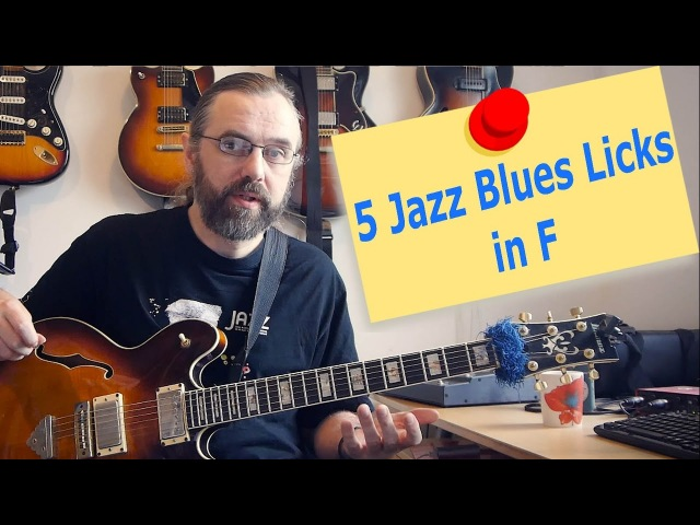 Great way to mix Jazz and Blues - 5 Jazz Blues licks in F - Jazz Guitar Lesson