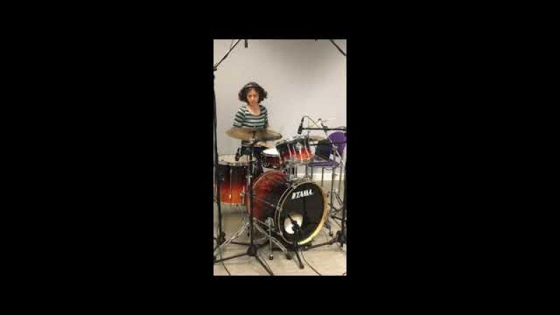 Caroline Scott recording drums with Cygnus Flare