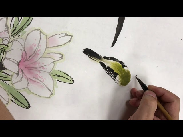 Chinese Art Painting-白頭翁百合圖-國畫花鳥示範-國畫山水影音教學園區-林振彪