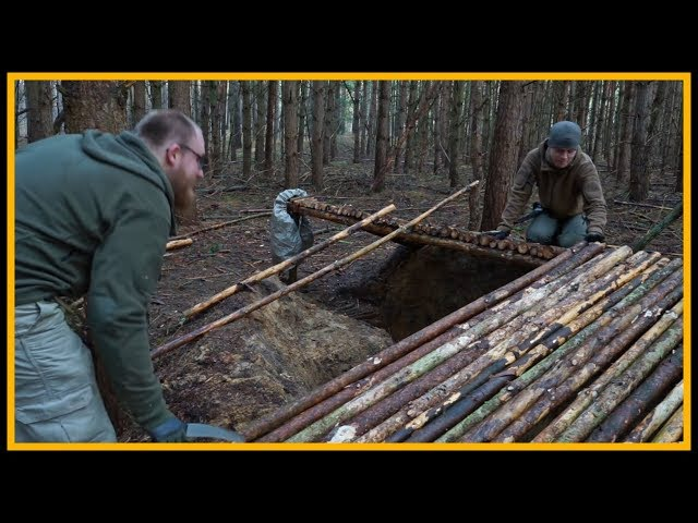Grubenhaus Bushcraft Supershelter - Lagerbau - Outdoor Bushcraft Camp Shelter