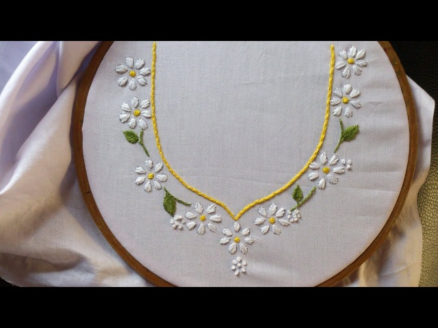 Hand embroidery. Neck design for dresses and blouses. Hand embroidery stitches for beginners.