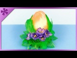 DIY How to make kanzashi Easter Egg with crocuses and feathers (ENG Subtitles) - Speed up #453