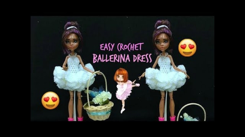 How to Crochet Ballerina Dress For DoLL ( flower girl dress )