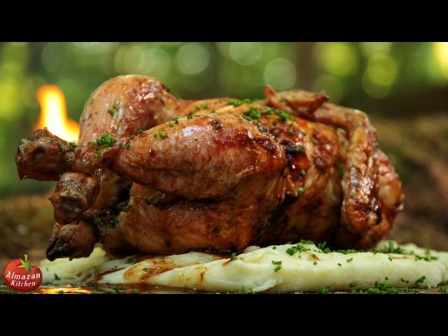 Hang-Roasted Chicken - Primitive Cooking ASMR