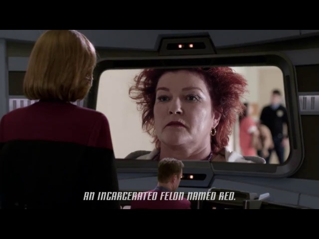 Kate Mulgrew's Captain Janeway from Star Trek: Voyager Meets Red