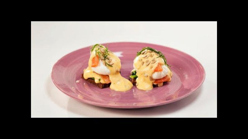 Яйцо Бенедикт с лососем и соусом олландез и яйцо-брюле с копчёным лососем | Марга...